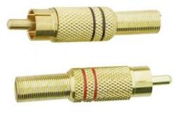 RCA PLUG W/STRAIN RELIEF GOLD